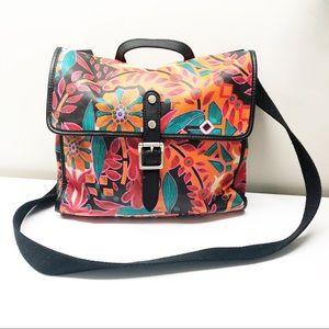 Fossil Coated Floral Messenger Crossbody Bag